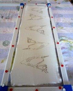 Green herons printed onto silk